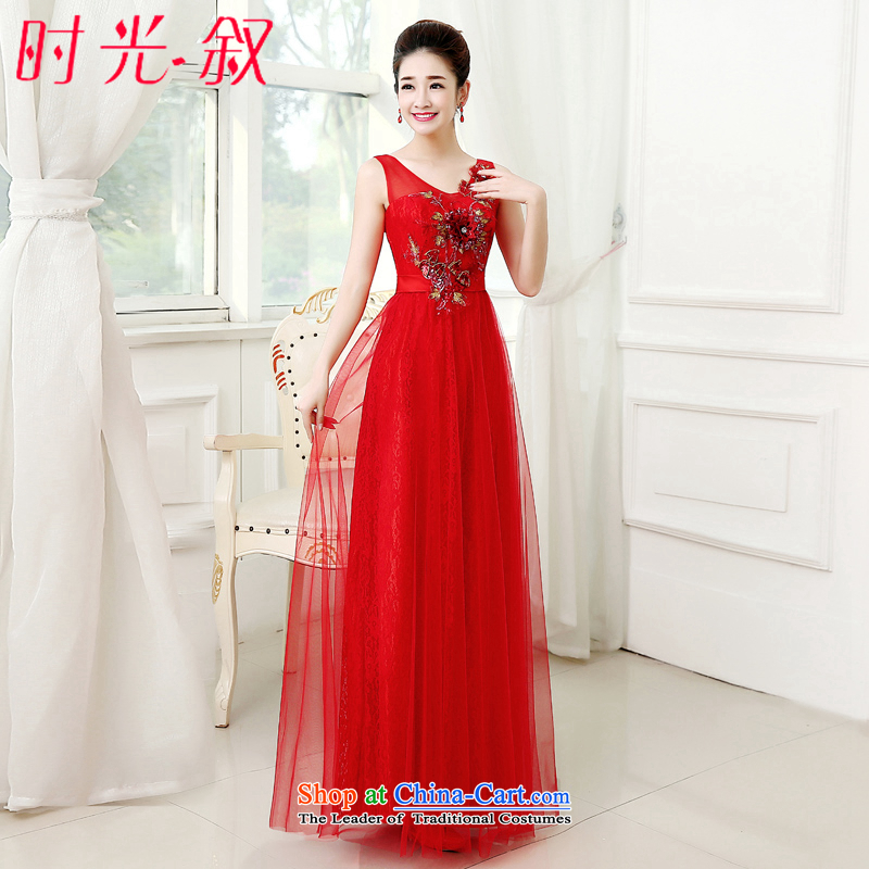 Time Syrian brides fall wedding dress long gown shoulders bows services bridesmaid services red evening dress will female dinner dress chinese red?M
