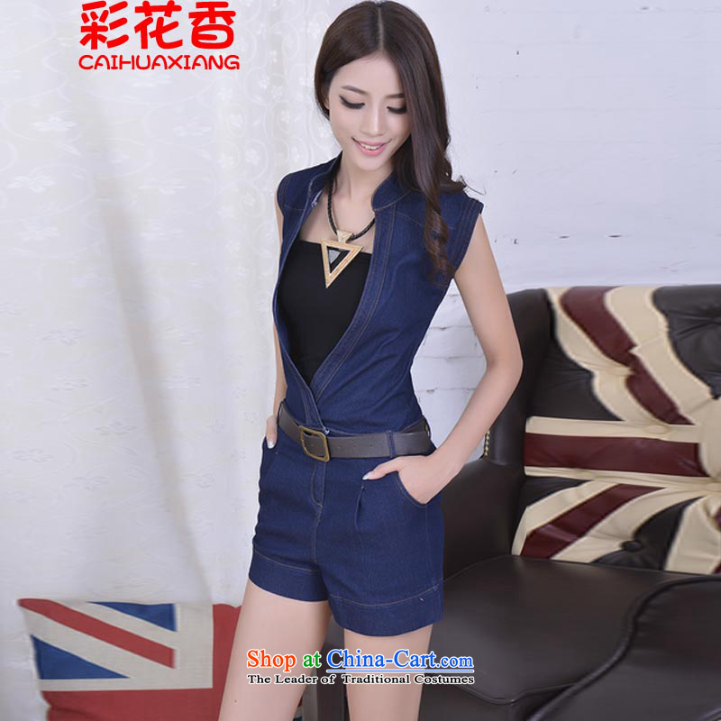 The fragrance of?summer 2015 Korea Multimedia Video Graphics thin cowboy suits short skirt Skort Sau San deep V-neck-trousers shorts 66.62 picture color?XL