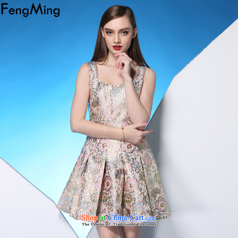 Hsbc Holdings Plc聽2015 Summer Ming new small Female dress Sau San pink jacquard large lifting strap dress suit聽S