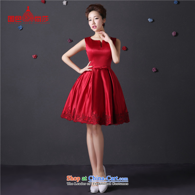 The color is Windsor moderator stylish dress�new 2015 autumn and winter evening dress up wedding short, Wedding Dress wine red bride bows to Sau San wine red�XXL