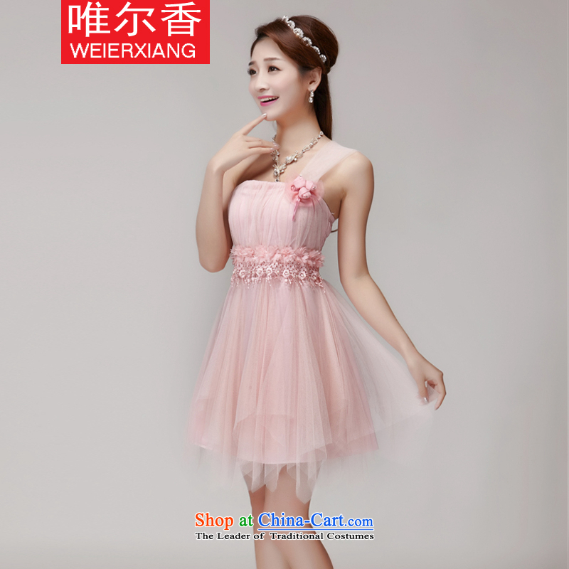 Cd-heung�2015 Summer new bridesmaid mission dress evening dresses and sisters skirts banquet short of small dress 258 pink�L