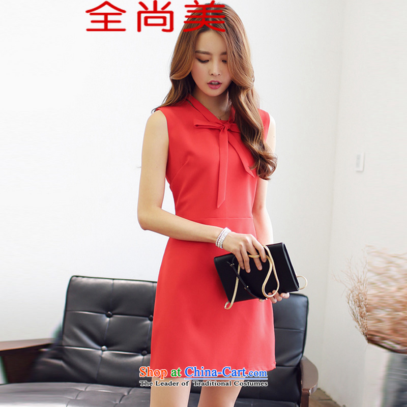 Jeon Sang-�spring and summer 2015, replacing the new show Korea are small dress Sau San Bow Tie sleeveless a skirt A8877 red�L