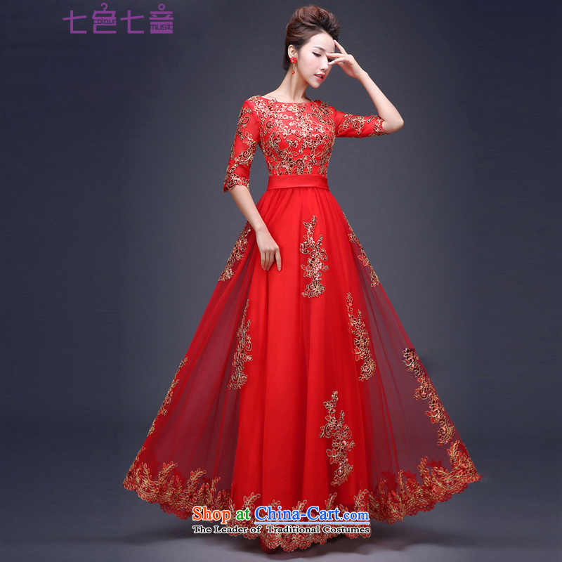 7 7 color tone bride 2015, married New Evening Dress Code Red bows her dress and large?in long-sleeved L034 tailored (does not allow)