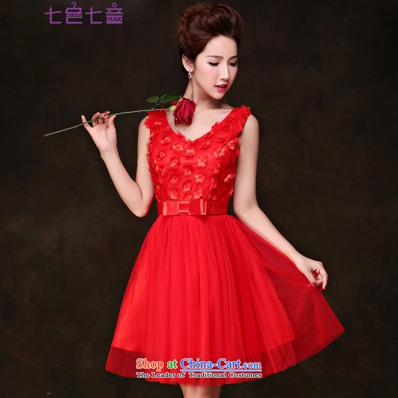 7 7 color tone bridesmaid services 2015 new bride bows service of marriage banquet betrothal Night Gown skirt�L035�RED�M