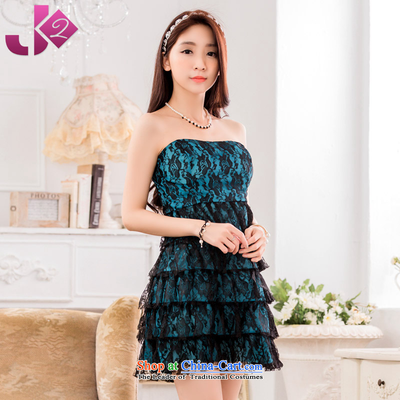 The new 2015 JK2 fashion show skirt anointed chest lace small dining dress skirt thick MM TO XL3XL blue skirt around 922.747 165 Recommendations