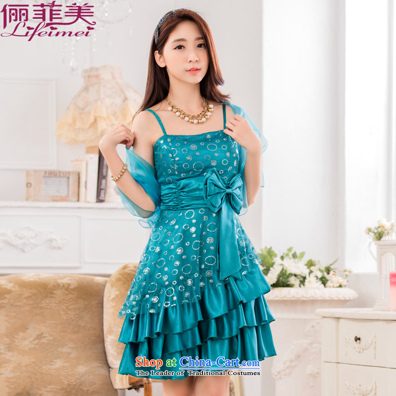 Li and the western style strap Top Loin of big bow tie cake petticoats large graphics thin hosted a dinner dress to send small green shawl?XXL 135-155 for a catty
