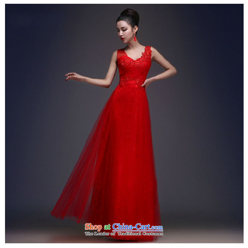 The first white dress into about 2015 new long banquet style serving drink bride Sau San Choon Sau San shoulders wedding dress summer red?XL