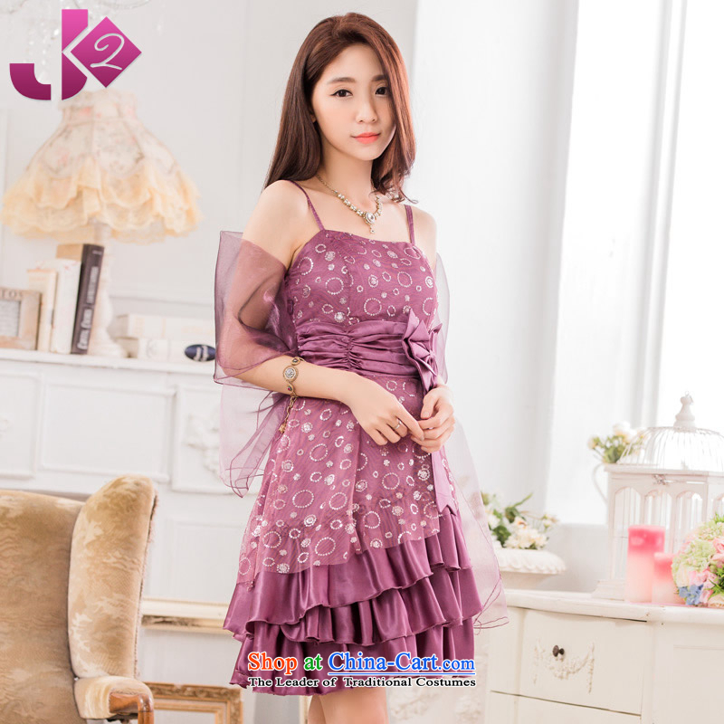 2015 new stylish JK2 evening performances conducted dress XL bow tie strap dresses purple�2XL