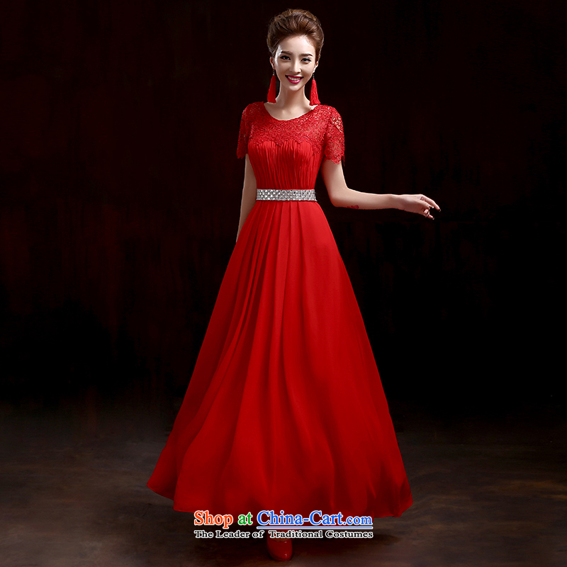 2015 Autumn and winter new stylish dress embedded drill lace married long shoulders dress bride toasting champagne Sau San services tailored red please contact Customer Service