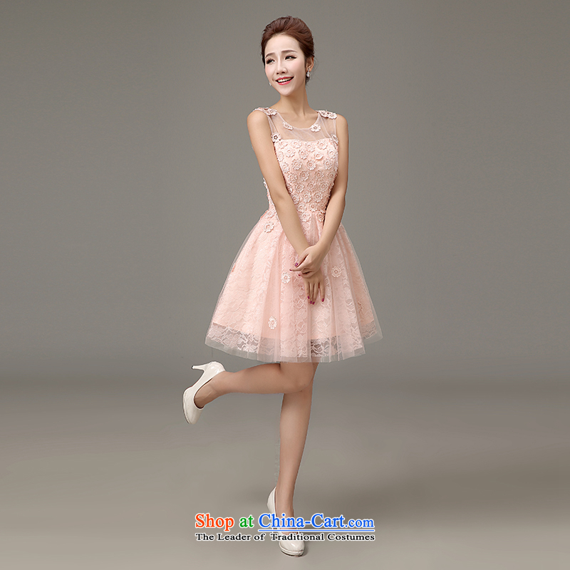 The first white into about 2015 new spring and summer evening dress short of Ms. bridesmaid dress bon bon skirt the small dining dress female bridesmaid mission short pink L