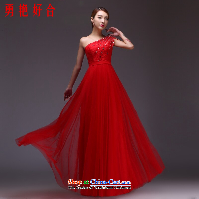 Yong-yeon and bows to the new spring and summer marriages stylish long single shoulder banquet evening dresses bridesmaid dresses Sau San spot is bound to be made with a zipper red?XXL