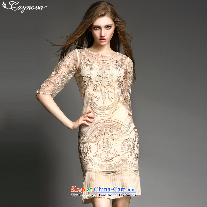 The new Europe and the summer caynova2015 stylish Heavy Industry positioning like Susy Nagle Embroidery Apron gold?M Sau San Dress