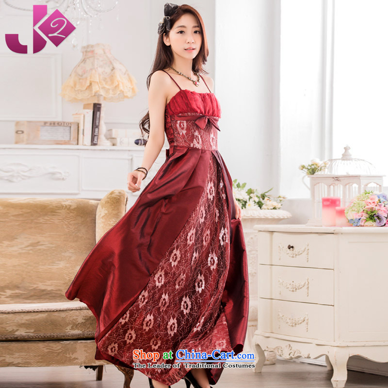 2015 new stylish JK2 evening performances conducted large long evening dresses large service bows strap dress code number wine red involving the height and the weight ratio as the advisory service