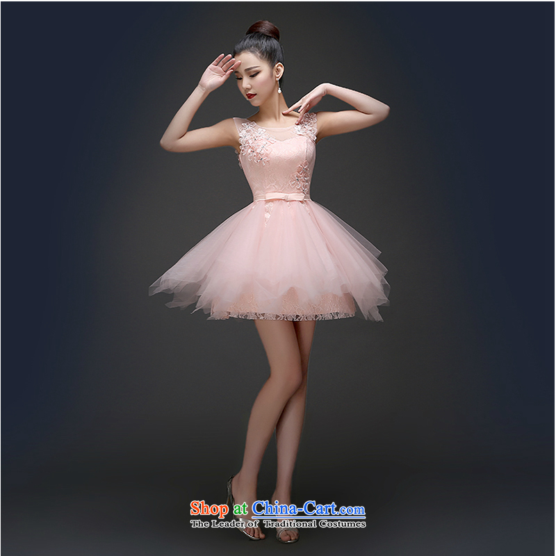 The first white dress into about 2015 Spring New pink short, shoulders marriages bows Services Mr Ronald bridesmaid dress booking wedding-dress pink S