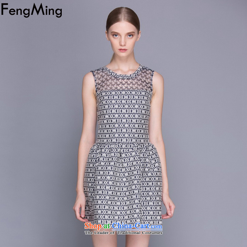 Hsbc Holdings Plc 2015 Summer Ming new European site big geometry stamp vest dress dresses female picture color M