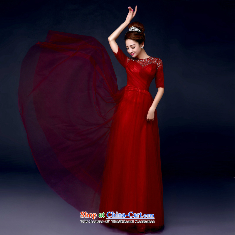 The first white into about�2015 Spring/Summer new marriages wedding dresses skirt evening drink service banquet pregnant women and chest of Sau San female wine red�L