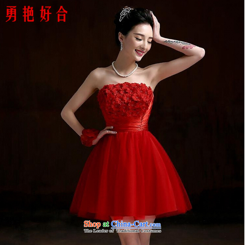 Yong-yeon close bridesmaid services 2015 Marriage spring bridesmaid mission dress Female dress short skirt_ Bride Services Mr Ronald red bows?XL