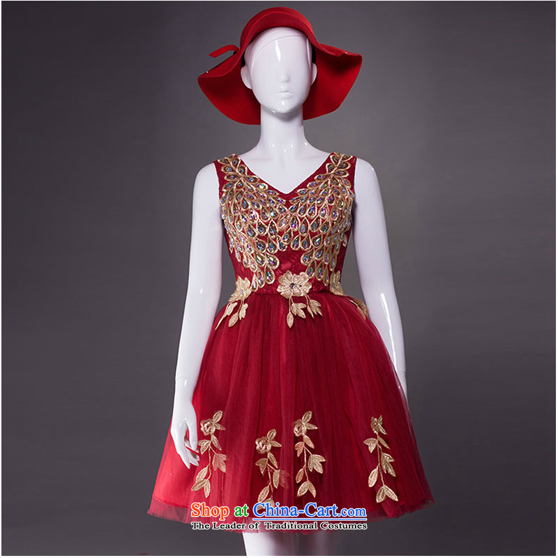 The first white into about bride dress marriage bows Services New 2 Annual Small dresses stylish shoulder female Red Dress Short, 2015 New banquet wine red�L
