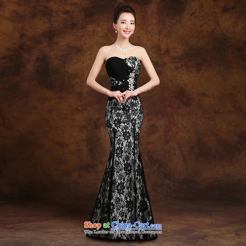 The first white into about�2015 Spring black long evening dresses and chest annual stylish black evening Sau San crowsfoot�L