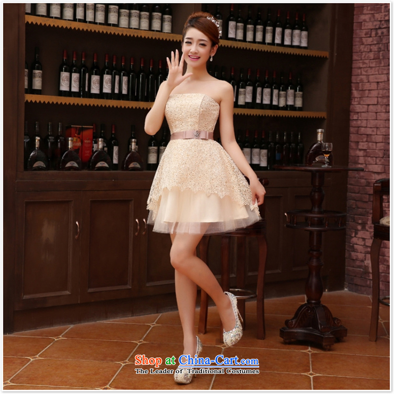Marriage Wedding Dress Short_ bridesmaid equipped with short of marriage evening dresses marriage small gift light yellow?XXL
