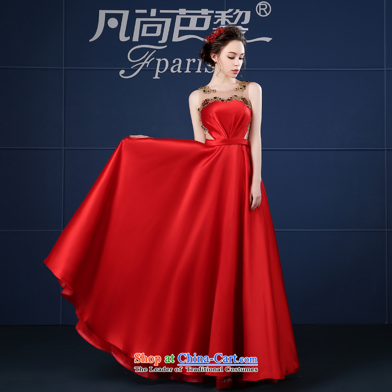 Where there and minimalist Lai banquet evening dresses long red shoulders bride bows Service Bridal Spring_Summer 2015 New Red?S