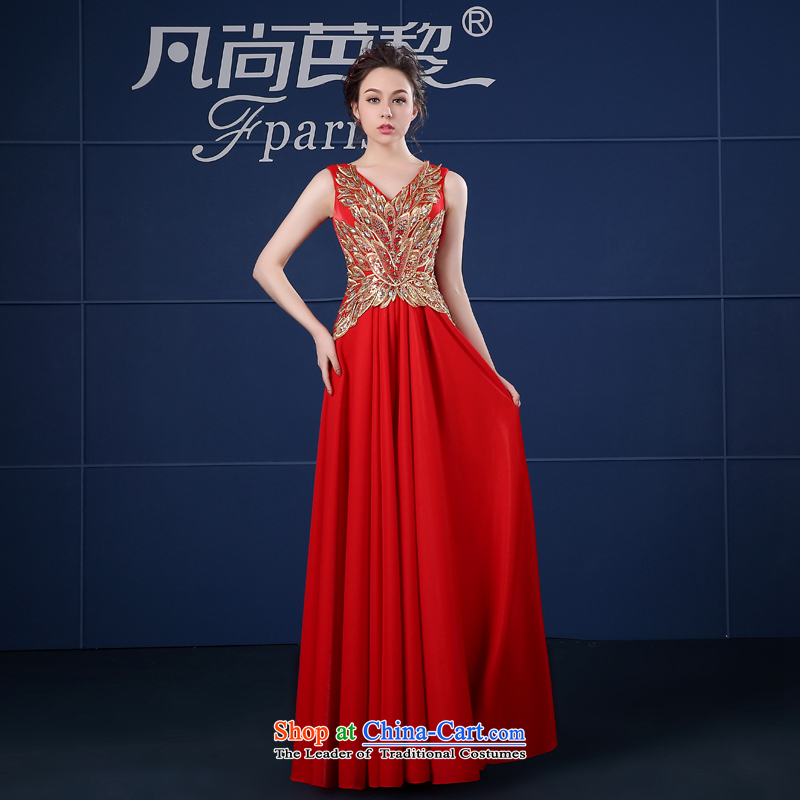 Where Is Barbara Lai FSUNPARES/ Red Dress long drink service shoulders banquet dress spring and summer new red�S