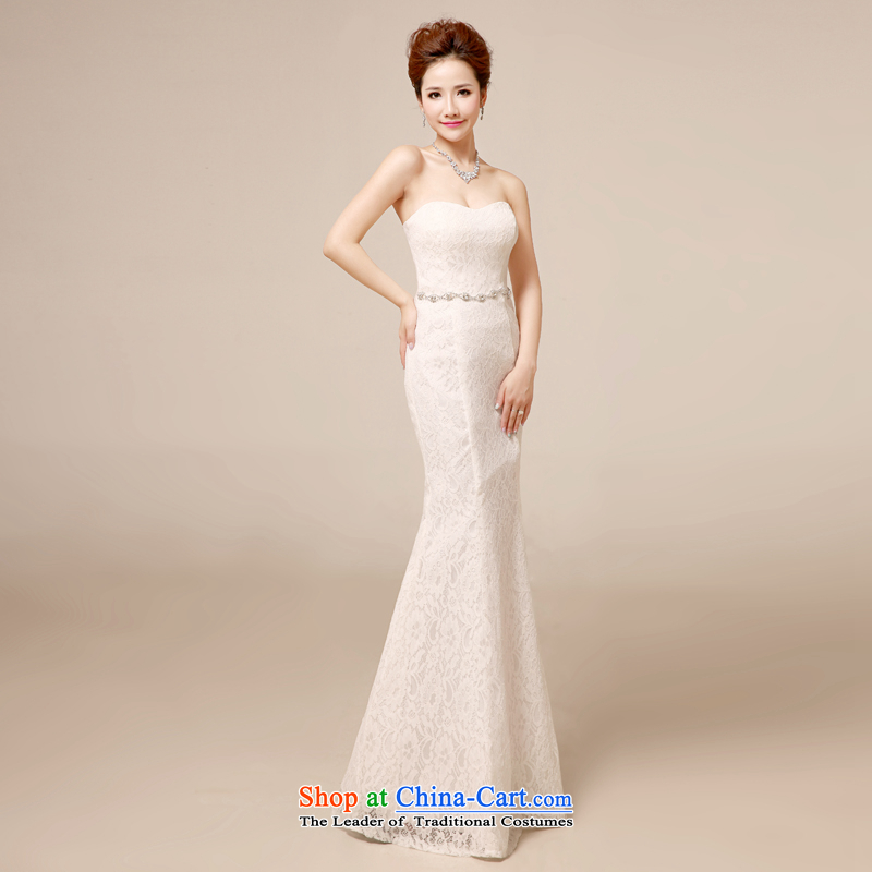 Every bride crowsfoot chest wiped her bows services 2014 new white wedding dresses bridesmaid long tail Sau San evening dresses reception night moderator dress white�L