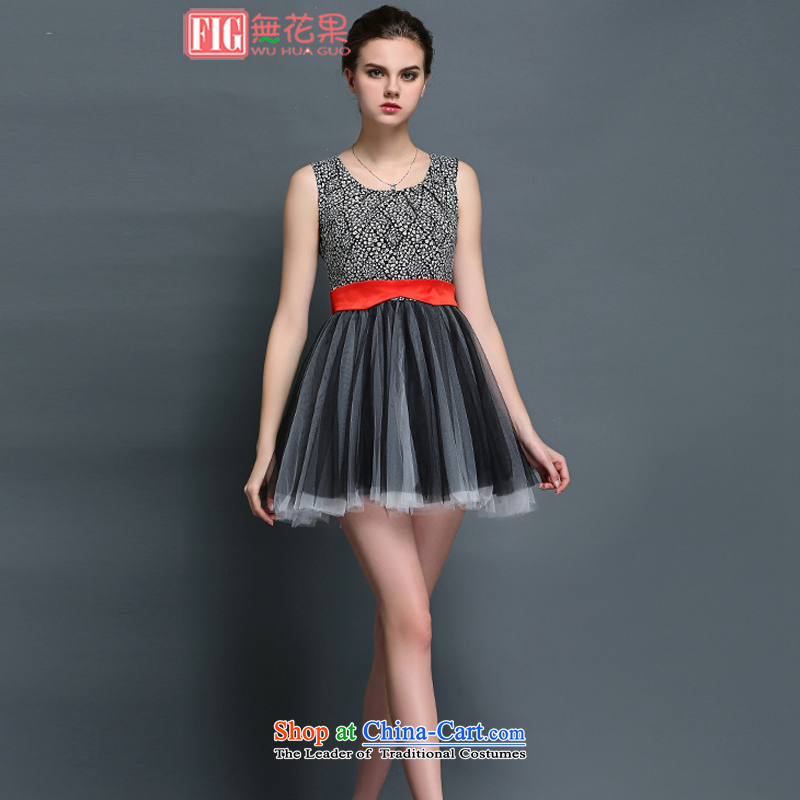 Figs 2015 European site chiffon small saika stitching elegant sleeveless bon bon skirt gauze engraving vest skirt dress gray�XL