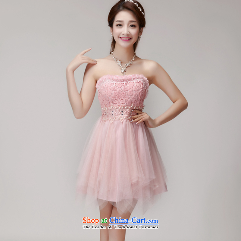 Connie sat Lai Opertti C.O.D.�2015 manually staple pearl diamond temperament and Sau San chest dresses bridesmaid groups dress skirt pink�L