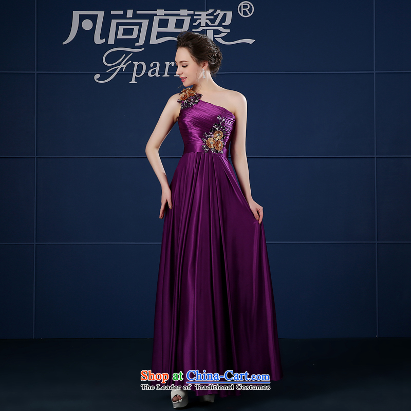 Ms. evening dresses 2015 Spring bridesmaid dress shoulder moderator dress skirt female long red bows to purple�M