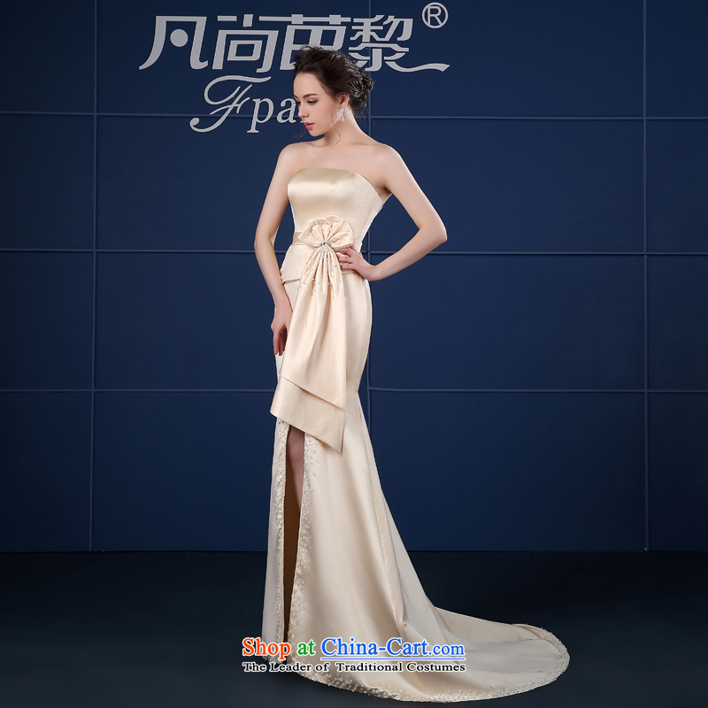 2015 new anointed chest blue dress long summer annual Spring Banquet bows to the persons chairing the Sau San female champagne color?S