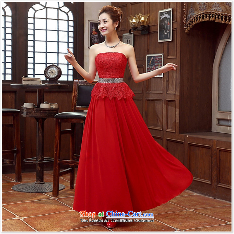 Long gown bride bridesmaid wedding dress marriage bows services wedding night wear long bride with new red?s 2015