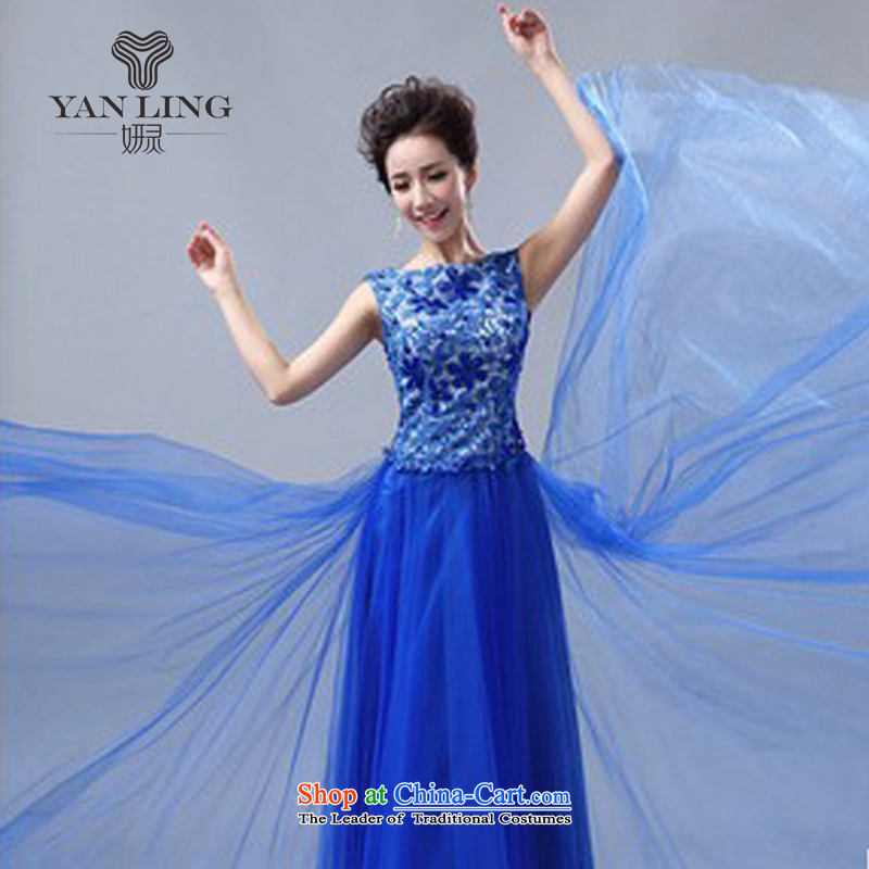 2015 Red Dress Korean new bride bows to marry a wedding Sau San field shoulder length) Blue LF1007?s
