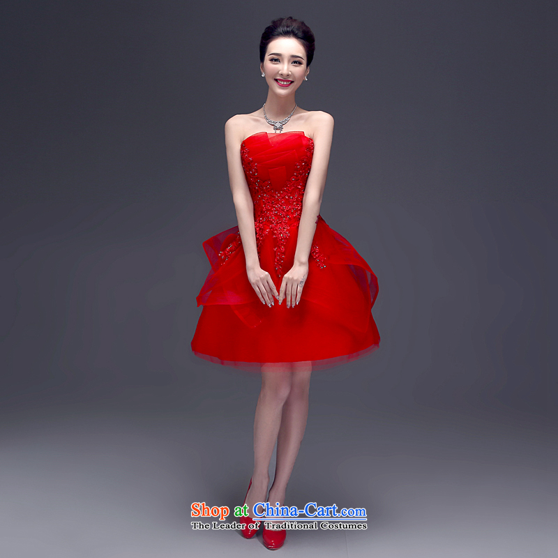 Every? 2015 new toasting champagne Connie services and shortage of chest summer bride wedding dress banquet evening dresses female?LF0003?RED?XL