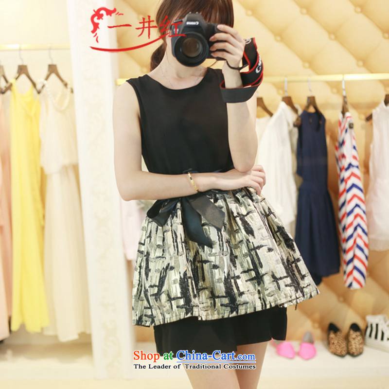Kuzui red spring and summer 2015 new Korean female elegance Sau San Foutune of vest dresses small black skirt dress black?M