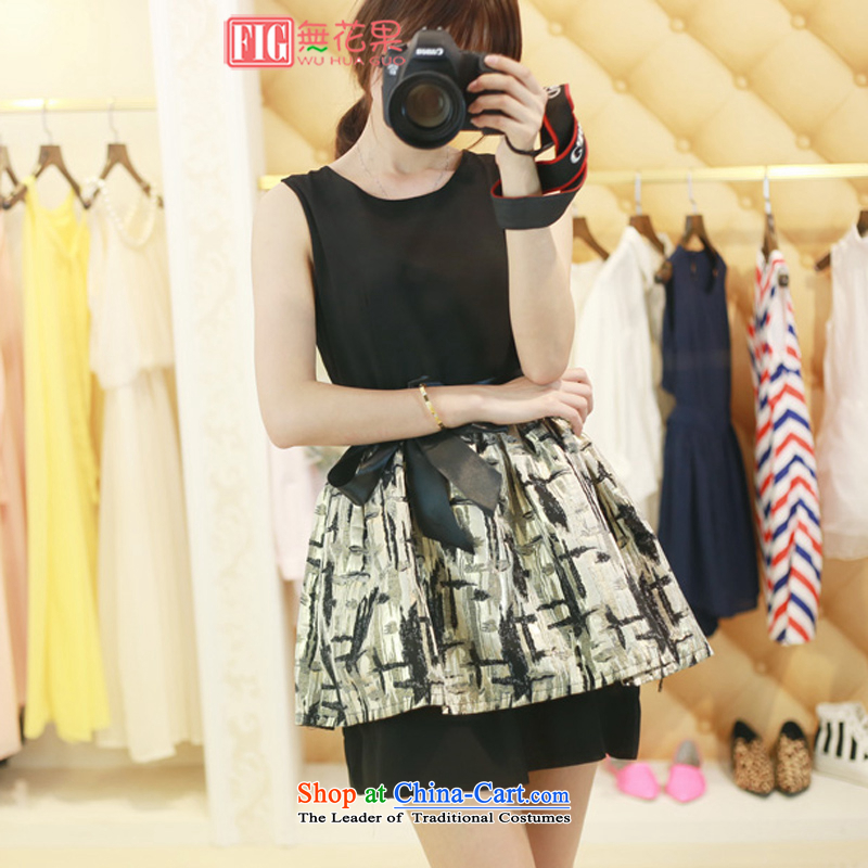 Figs 2015 Spring/Summer new Korean female elegance Sau San Foutune of vest dresses small black skirt dress black?M