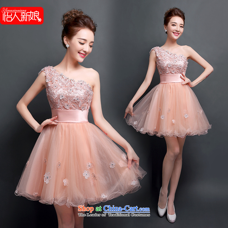 Click New dresses shoulder 2015 Spring/Summer lace marriages bows to Dinner Banquet Korean fashion Sau San bridesmaid short skirt pleasant bride meat pink?M