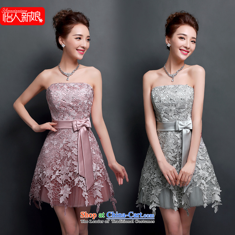 Toasting champagne wedding dress Summer 2015 new stylish anointed chest wedding banquet meeting of persons chairing the Sau San nightclubs, short skirt ball pleasant bride silver XL