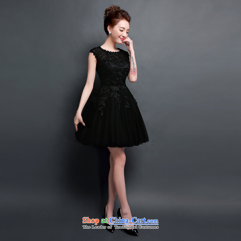 Summer 2015 new bride bridesmaid small dress the word skirt shoulder bags rotator cuff short, bows to female dinner meeting wedding dress skirt pleasant bride black?XXL