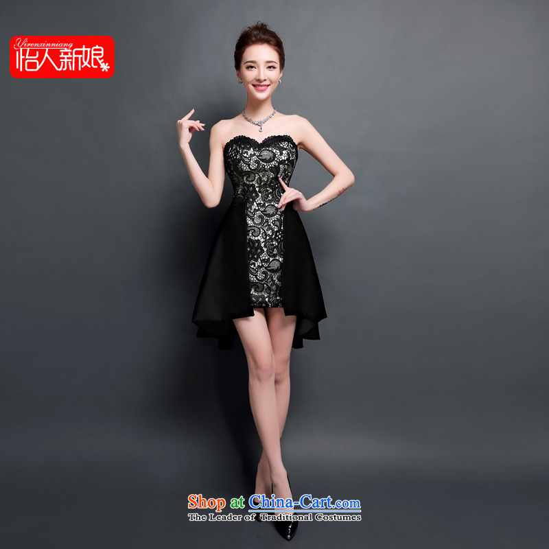 Evening dress new 2015 Summer Ball nightclubs gatherings, bows to serve short dance gala dinner will be black nightclubs birthday small dress skirt pleasant bride black?S