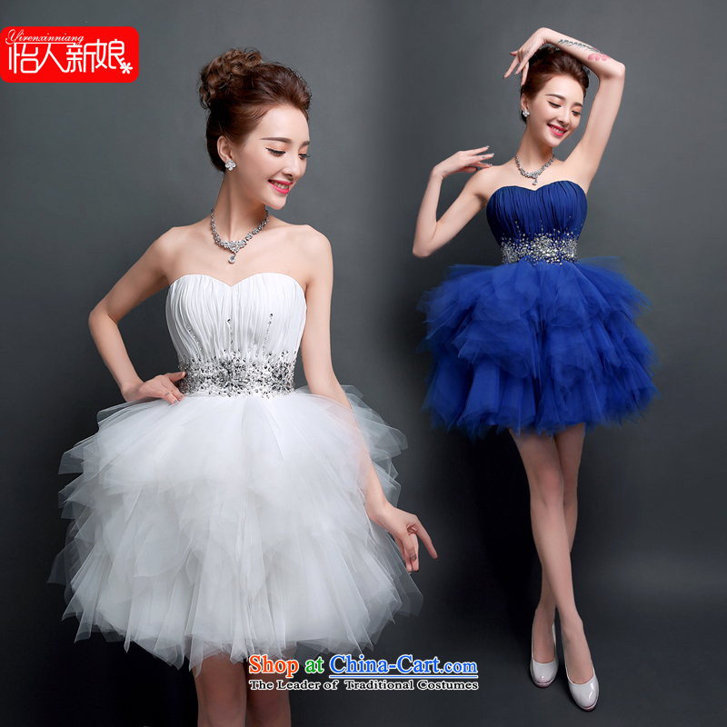 The new 2015 evening dresses and summer short of chest bon bon skirt bride a marriage meeting dinner drink served the ball small blue dress skirt pleasant bride White�M
