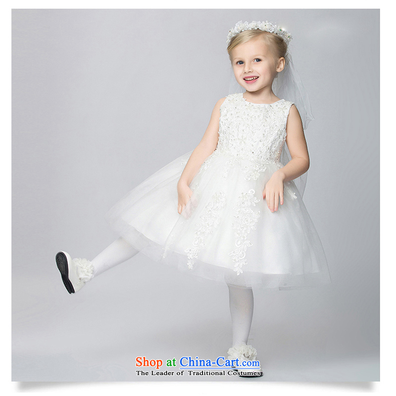 Pure Love bamboo yarn princess skirt spring children bon bon skirt Flower Girls dress clothes girls wedding dress summer girls will white聽120CM