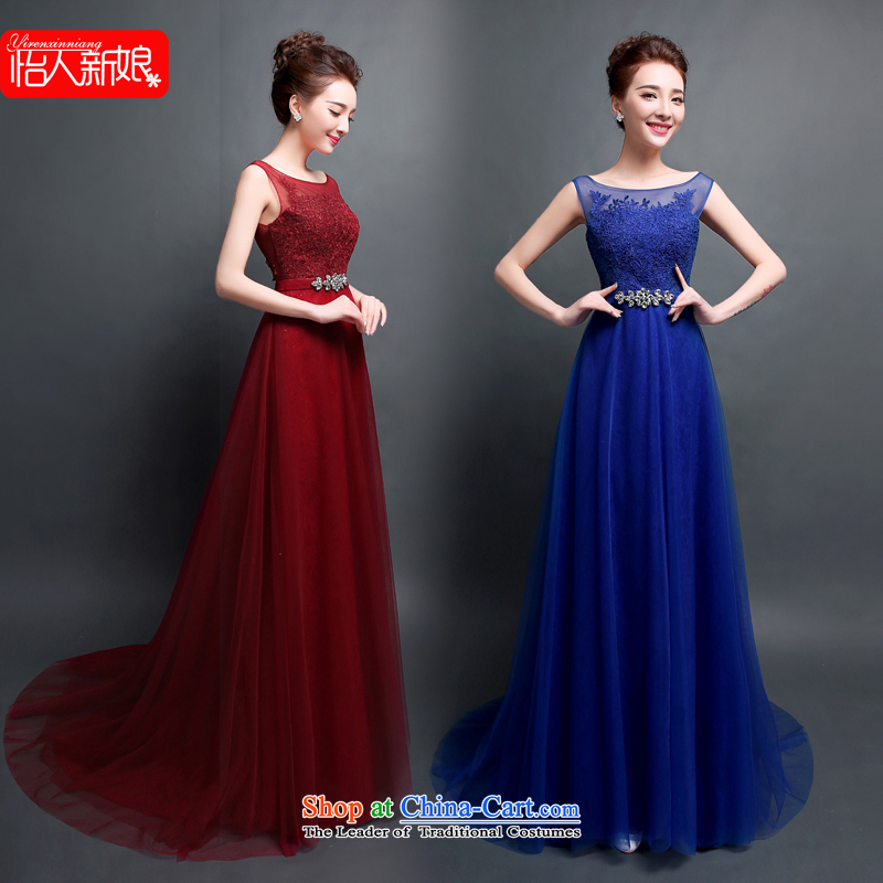 Evening dress the new bride toasting champagne 2015 Chief dinners will dance shoulders Ms. blue evening dress pleasant bride blue?XXL