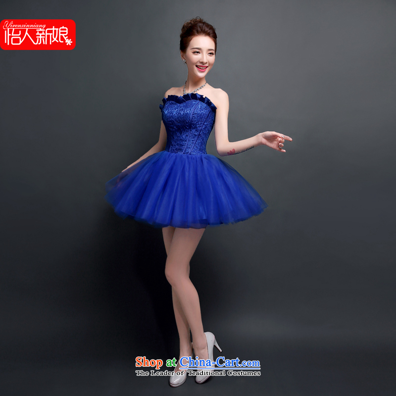 Evening Dress Short Summer 2015 new bride, a marriage bows bon bon skirt dinner service encounters Ms. ball small dress skirt pleasant bride Blue M