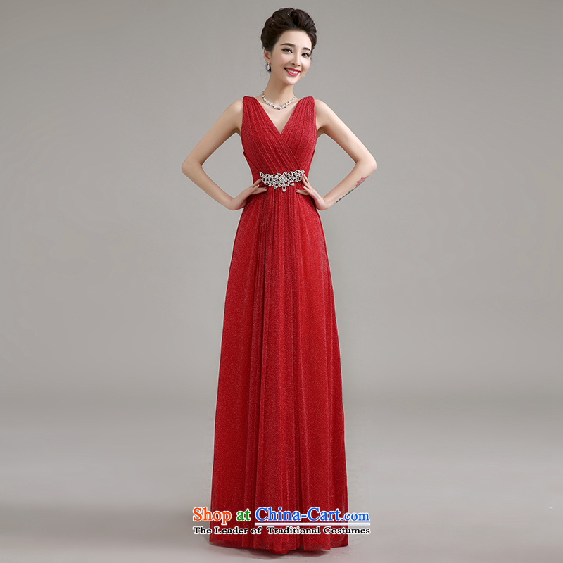 Yi is a new summer products Love 2015 new marriage long shoulders evening dresses red bows services marriages waist diamond bridesmaid dress long summer female red can be made plus _30 Does Not Return