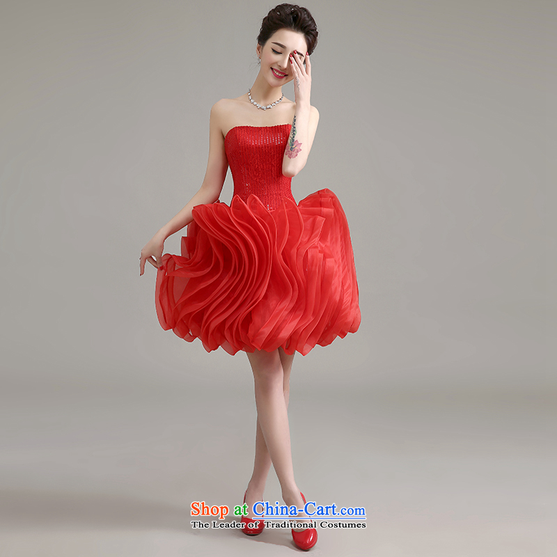 Yi Sang-dress Love 2015 new Korean modern red short, banquet service bridal spring and summer bows moderator dress female RED�M