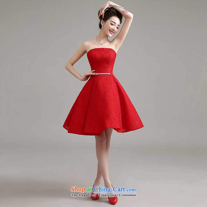 Yi is the spring and summer of 2015 Love new stylish wedding dress banquet service bridal dresses bows marriage in a small red dress betrothal female red�L
