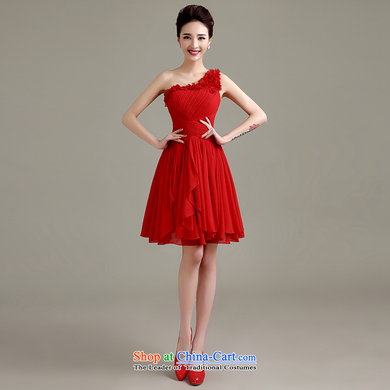 Love is new, Yi 2015 Summer bows Service Bridal Fashion evening dresses marriage ceremony shoulder bridesmaid services, red autumn red can be made plus $30 Does Not Return