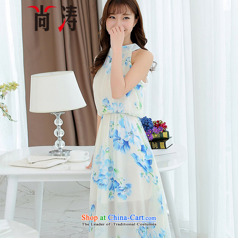 Is a new summer 2015 for women beachfront terrace covered shoulders back mount also long skirt Korean citizenry small dresses Sau San chiffon dresses female summer B0605 white?L