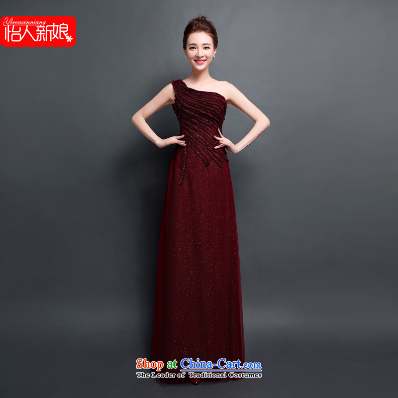 Evening dress the new bride toasting champagne 2015 Chief dinners will dance Ms. shoulder moderator evening dress skirt pleasant bride wine red?XL